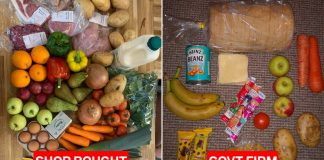An image comparing £30 worth of food with a meagre basket of food provided by a Tory-linked private firm to children entitled to free school meals.