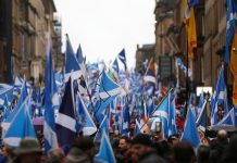 A pro-independence rally in Glasgow, January 2020.