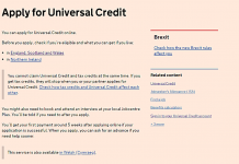 Picture: A screenshot of the Universal Credit application page on the gov.uk website. (Keywords: UC applications poverty welfare benefits)