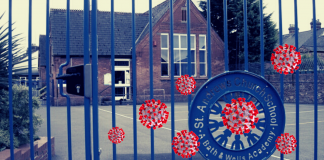 Image of a school with coronavirus images superimposed
