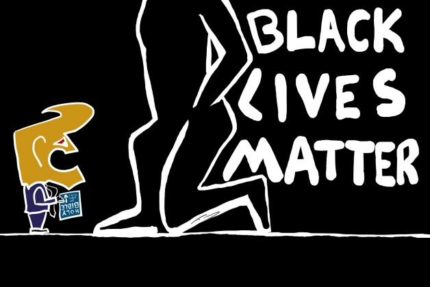 Image is stark, mostly black and white, showing a large outline of a person taking the knee next to the text 'Black Lives Matter'. A tiny Donald Trump cartoon, in colour, stands in the bottom left of the image, very small, with a Bible held upside down.