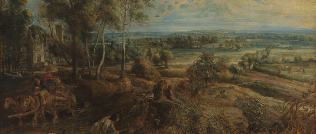 Painting of a rural landscape by Peter Paul Rubens entitled A View of Het Steen in the Early Morning