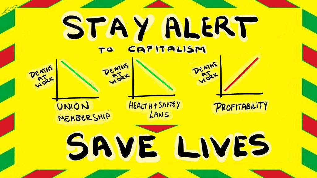 "Text reads ""Stay alert, save lives"" in the style of the government 'Stay at home' poster from 2020."