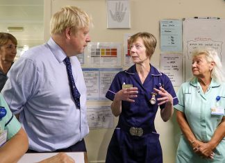 Boris Johnson visiting Alexandra Palace Hospital during the 2019 General Election. Keywords: Government Tories NHS privatisation privatization privatising privatizing privatised privatized