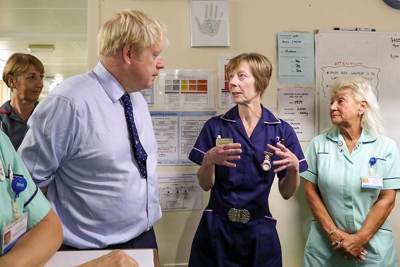 Boris Johnson visiting Alexandra Palace Hospital during the 2019 General Election. Keywords: Government Tories NHS privatisation privatization privatising privatizing privatised privatized