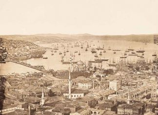 A photo of ships in Istanbul taken in 1854