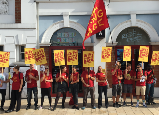 Image shows a row of workers in Ritzy Strikes Back shirts holding bright yellow and red flags and banners on the picket line.