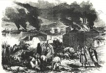 An engraving depicting the 1871 revolt against French rule in the Kabylia region of Algeria