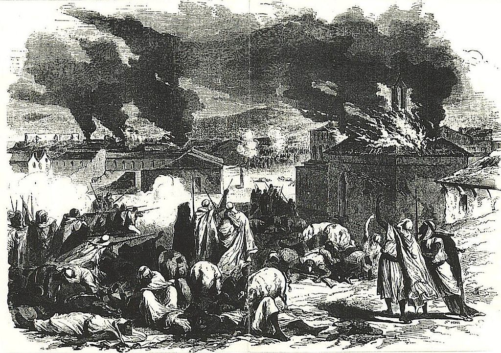 An engraving depicting a battlefield with burning houses and wounded combatants