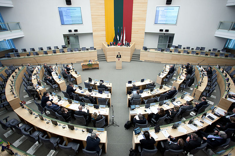 Image shows an internal chamber of the Seimas, the seat of Lithuania's parliament in Vilnius, Lithuania.