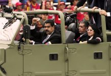 Nicolás Maduro at the funeral of Hugo Chávez in 2013.