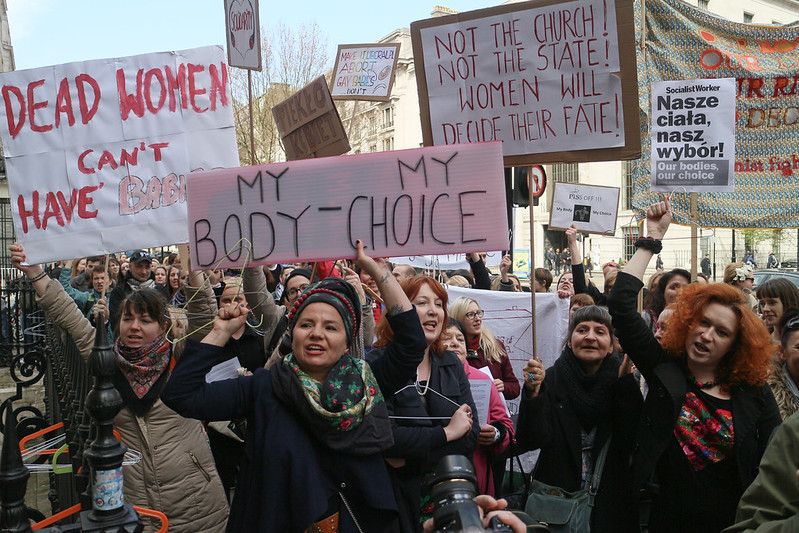 Image from the protest No To Torturing Polish Women – protest against anti-abortion legislation at Polish embassy
