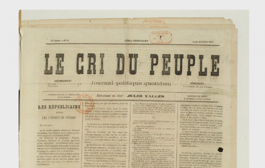 The cover of Le Cri du peuple, 23 February, 1871