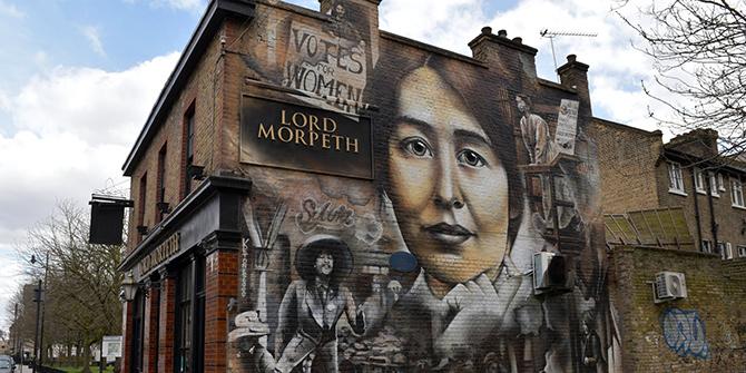 A mural in Bow, East London commemorating Pankhurst
