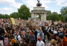 Large crowd at Black Trans Lives Matter demonstration in London