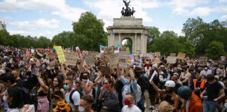 Large crowd at Black Trans Lives Matter demonstration in London
