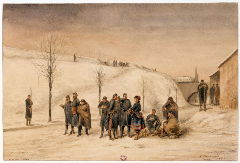 A painting of Parisian National Guard gathered in the open air during the winter of 1870
