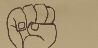 Sketch of a raised fist.