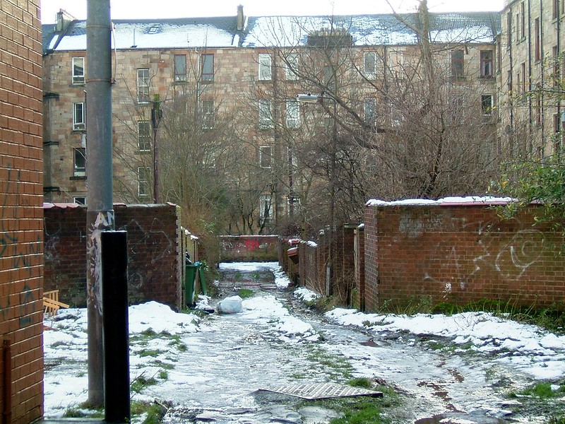 An image showing a snowy street in Govanhill, Glasgow.