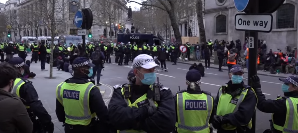 Police kettled a small group of mostly teenagers for several hours into the night in central London on Saturday.