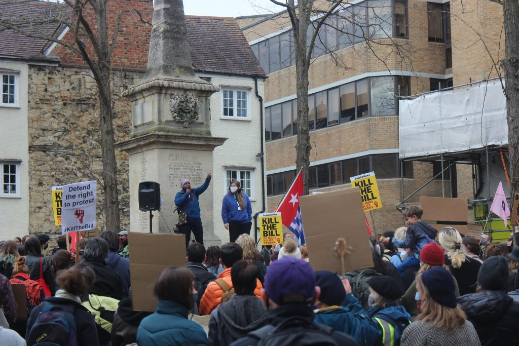 Speeches at the beginning of the Oxford protest on Saturday.