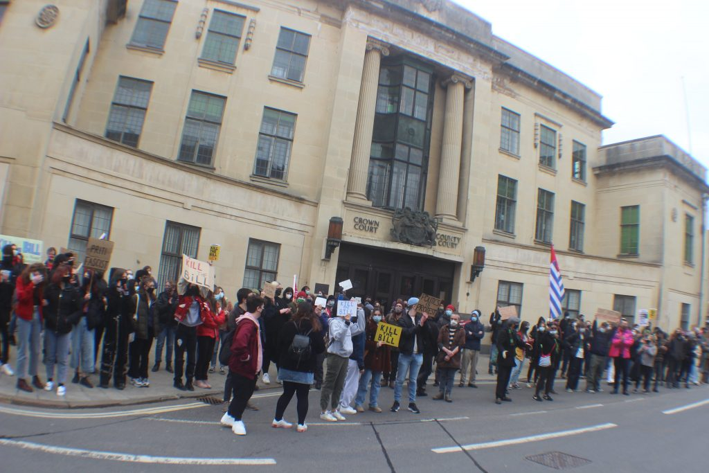 Oxford's Kill the Bill protest marched outside the Crown Court and police station on Saturday.