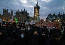 Image of Kill the Bill protesters in Parliament Square