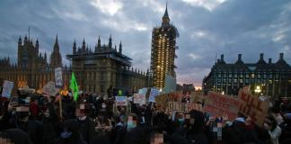 Image of Kill the Bill protesters in Parliament Square