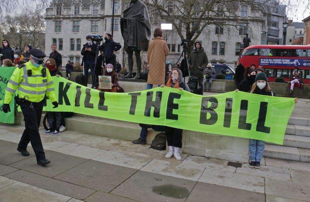 Banner reads 'kill the bill'