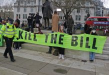Banner reads 'kill the bill'