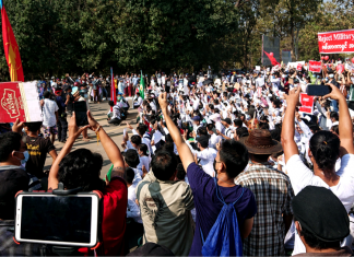 Protest against military coup in Myanmar, Feburary 2021