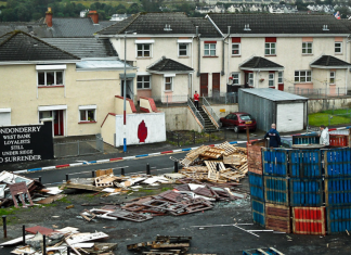 View from the city walls as Loyalists prepare a bonfire in the Fountain estate in Derry