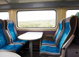 Empty seats on a British train carriage