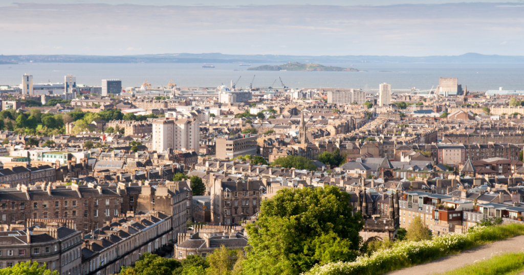 View over Leith and the Firth of Forth.