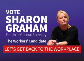 """Image of Sharon Graham with text """"let's get back to the workplace"""""""