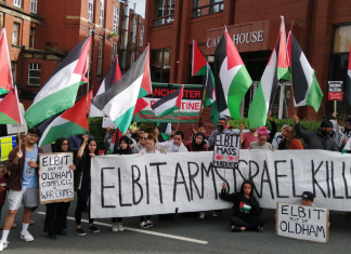 Manchester protest in solidarity with Elbit protesters and against the use of British-made weapons in the occupation of Palestine