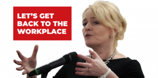 Image of Sharon Graham with text 'let's get back to the workplace'