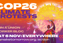 COP26 climate protests. Join a union/worker bloc. Sat 6 Nov: everywhere. www.wemaketomorrow/action