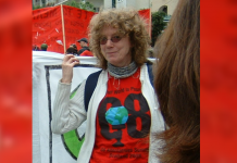 Eileen Cook, 1950-2021, pictured here at Athens Social Forum.